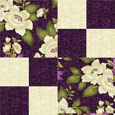 Benartex Dover Ribbon Floral Plum Purple Gold Floral Pre-cut Quilt Kit 12 Blocks