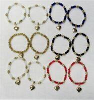 Wholesale Jewelry Lot 12 PCS Stretch Heart Beaded Charm Bracelets # 04271