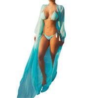 Women Sheer Bikini Cover-up Summer Cardigan Robe Swimwear Beach Long Dress S-XL