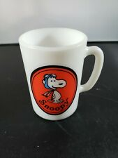 Avon Snoopy Aviator Hat Milk Glass Cup Mug Liquid Soap 1969 60s Small Red White
