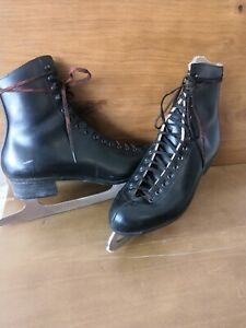 MENS vintage RIEDELL ice skates black 8 d red wing boots sheffield blades