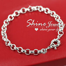 18K WHITE GOLD FILLED BELCHER SAFE BOLT RINGS CHAIN WOMENS SOLID BRACELET BANGLE