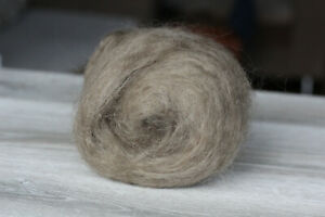Organic wool angora goat spinning felting batt Mohair hair 2.3 oz light brown