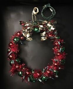 Metal Jingle Bell Wreath Garland and Lights Vintage Lighted Christmas Wreath