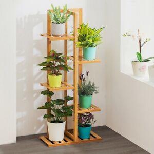 5 Tier Bamboo Tall Flower Pot Plant Stand Shelf Display Garden Decor Rack Indoor