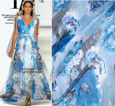 DESIGNER 100% PURE SILK CHIFFON BLUE & WHITE PORCELAIN PEONY BY THE METER 131