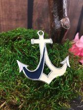 L Vintage Nautical Anchor Navy Enamel Brooch Pin Silver Tone NOS