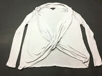Victorias Secret Womens Gray Long Sleeve Criss Cross Blouse Top Shirt Size Large