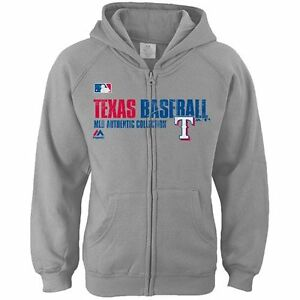 Texas Rangers Sweatshirt Girls Hoodie Youth MLB Majestic Heathered Gray Zipper