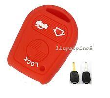Red 3 button Silicone Key Shell For BMW 3 5 7 Series E31 E32 E34 E36 E38 E39 E46