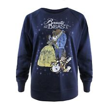 Disney - Beauty and the Beast - Classic - Ladies Crew Sweat Jumper - Navy