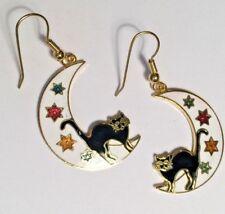 """Vintage Jewelry Earrings Enamel Cloisonne Black Cat Moon Stars 1.5"""" *5"""