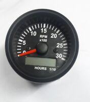 Tachometer/Hourmeter 0-3000 RPM Alternator Signal Gauge Black Bezel +12V