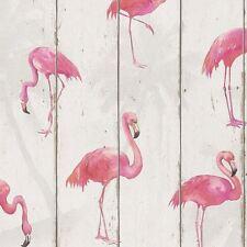 Wallpaper Rasch - Barbara Becker Flamingo on Wood Panels - Pink / White - 479720