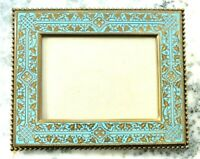 Antique French Champleve Turquoise Enamel Ivy Bronze Dore Picture Frame France