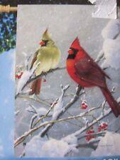 """""""Snowy Cardinals"""" Breeze Art Solar SIlk Garden Flag 28"""" x 40"""""""