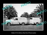 OLD LARGE HISTORIC PHOTO OF GMH 1953 FJ HOLDEN PANEL VAN LAUNCH PRESS PHOTO