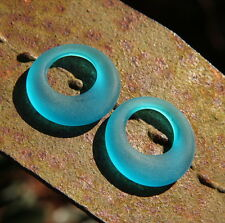 Donut Ring Pendant Beads, Teal w/Sea Glass Finish, 28mm, 2 Pieces