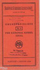 Nationale Radiator Gesellschaft National Kessel Radiator Zubehör Preisliste 1939
