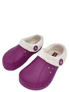 Crocs Blitzen Polar Fleece Lined Slip-On Clogs Purple Size 7