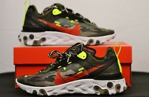 Nike React Element 87 Camouflage Crimson Shoes Sneakers Men's 5 Womens 6.5