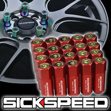 SICKSPEED 20 PC RED/24K GOLD CAPPED EXTENDED 60MM LUG NUTS WHEELS 1/2x20 L22