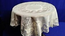 "Heritage Lace Teacups  36"" X 36""  Cream/Ivory Table Topper"