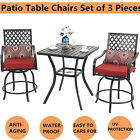 Patio Table Chairs Set Garden Patio Bar Set Metal Swivel Bar Chairs & One Table
