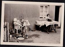 Antique Photograph Mom At Table & Little Girl Stirring Brew Liquor Bottles