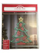 Holiday Time Lighted Tree Window Decoration Tree with Stars  ⭐️ 43 Lights 🎄
