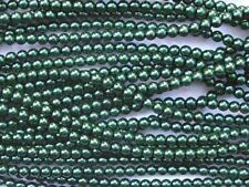 DARK GREEN Czech glass round pearl beads - string of 110 beads - 4mm