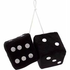 "3"" Black Fuzzy Dice with White Dots - Pair VPADICEBKW vintage parts usa street"