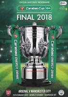 * 2018 CARABAO CUP FINAL PROGRAMME - ARSENAL v MAN CITY (25th February 2018) *
