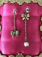Pink Crystal Pearl Mismatch Earrings Rare Betsey Johnson Golden Rose Gold Bow