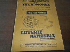 ANNUAIRE COMPLET DES TELEPHONES 1938 ABONNES EN FRANCE CLASSES PAR PROFESSIONS