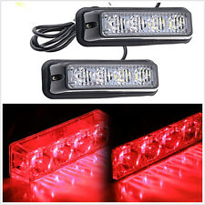One Pair 12V 4LED Red Car Exterior Emergency Strobe Lights Indicator Lamp Strips