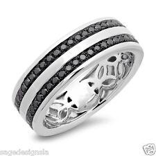 Mens 14K White Gold Round Cut AAA Black Diamond Wedding Band Engagement Ring