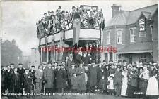 PRINTED POSTCARD OF THE OPENING OF THE LINCOLN ELECTRIC TRAMWAYS, LINCOLNSHIRE