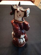 MUSICAL FRENCH FRANOR WHITE/BROWN GLAZED CERAMIC COW DECANTER SIGNED EMPTY