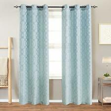 Curtains for Living Room Trellis Geometric Pattern White Semi Sheer Window Curta