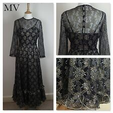 TRUE VINTAGE 1970s Black GOLD BOHEMIAN Maxi EVENING Dress 70s WEDDIN 30s deco 10