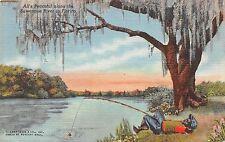 Black Americana postcard All's Peaceful along the Suwannee River Florida fishing