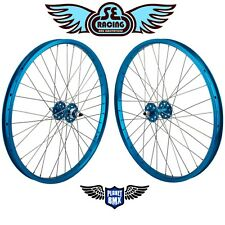 "SE Racing 24"" x 1.75"" BMX sealed bearing WHEELSET pk ripper quadangle BLUE new"