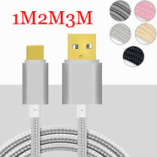 1-3M Gold plug Braided Sync Data Charger Cable For iPhone 5 5S 6 6S 7 7Plus Lot