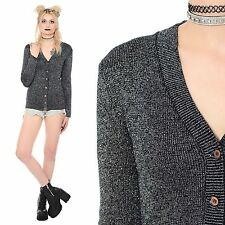 Vtg 70s Silver Metallic Knit Sweater Top Cardigan Glam Sparkly Disco Skinny Fit
