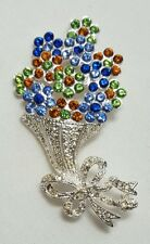 Napier Brooch - Flower Bouquet - Silver Blue Green Orange Pin