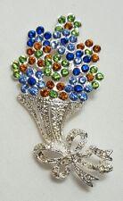 Napier Brooch - Flower Bouquet - Silver Blue Green Pin _ Cyber Monday Deals