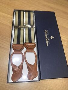 Brooks Brothers Striped Braces BRAND NEW RRP £118 Navy/ Taupe / Brown Leather