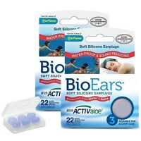 BioEars Soft Silicone Earplugs With Activaloe (2 x 3Pairs)
