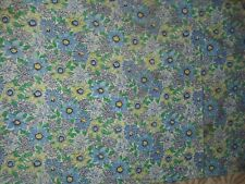 """Vintage Cotton  Full Unopened Feed Sack 25x36"""" blue floral print."""
